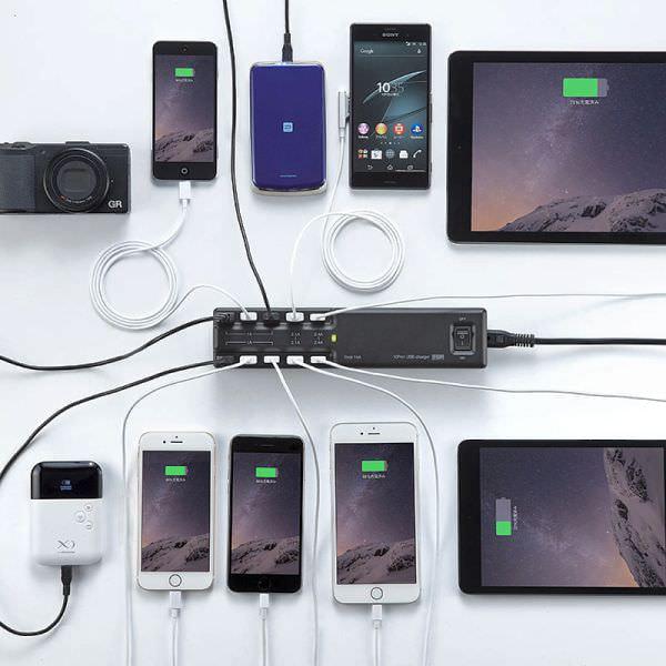 最大 15A の出力で同時に10台充電できる USB 充電器が発売