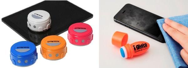 右:スマホ・タブレット専用ロボット掃除機「AutoMee S」(出典:タカラトミー) 左:皮脂汚れをふき取りやすくする「iガラコ」(出典:キングジム)