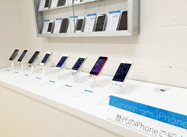 歴代 iPhone 展示コーナー