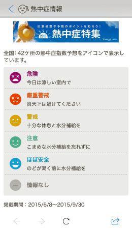 1か月も早い熱中症情報、「Yahoo!地図」アプリで開始