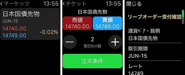 レートを確認し(写真左)、取引内容を決定(写真中央)、 最後に受付内容を確認(写真右)