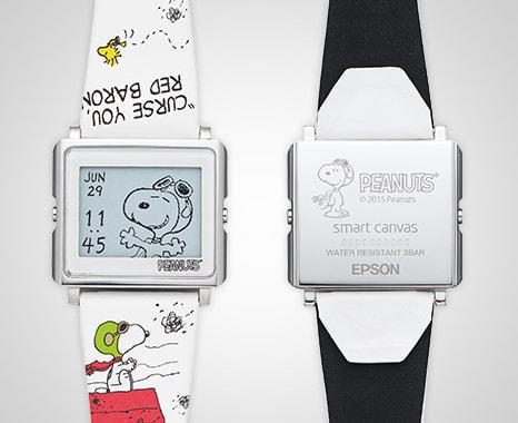 スヌーピーがパイロット姿に--電子ペーパー腕時計「Smart Canvas」の新モデル