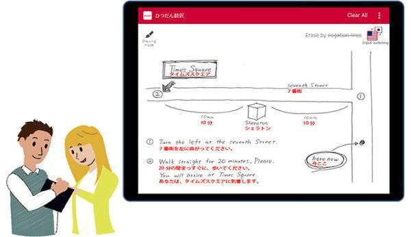 手描き文字を翻訳する「ひつだん翻訳」トライアルサービス、イラストも添えて