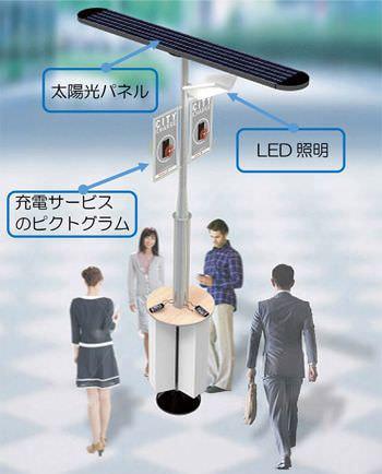 街中にソーラー充電スタンド、いつでもスマートフォンが充電できる