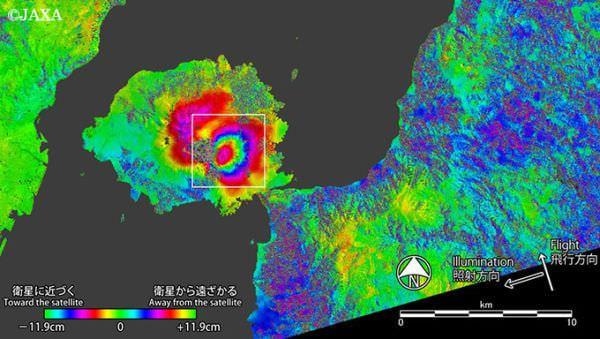 桜島をJAXA「だいち2号」が緊急観測