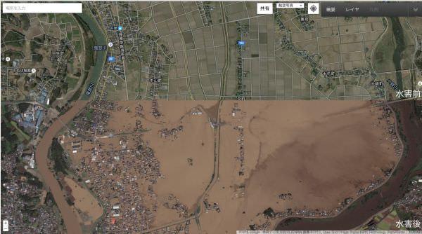 Googleが氾濫した鬼怒川周辺の衛星写真を公開