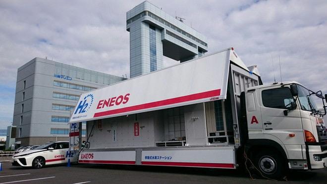 トラックが変形!「移動式」水素ステーションに!―燃料電池車を助ける先進設備