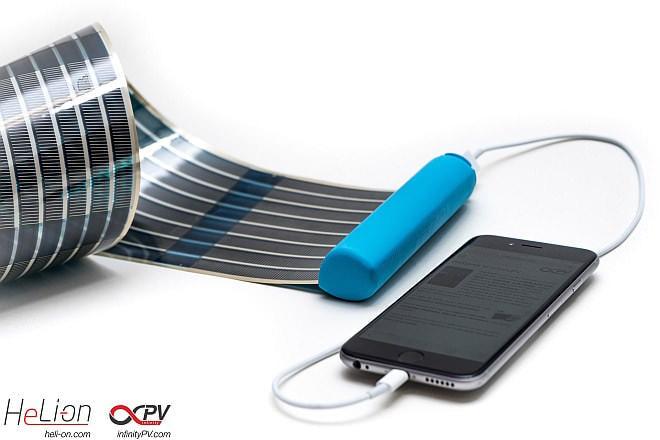 スマホを日光で充電しよう--太陽電池「HeLi-on」はくるっと丸まるポケットサイズ【Kickstarter】