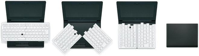 左右に分かれて折りたためるキーボード