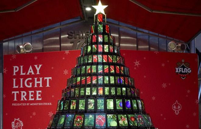 mixi、渋谷にスマホで作った巨大クリスマスツリー―モンストみたいに遊べる