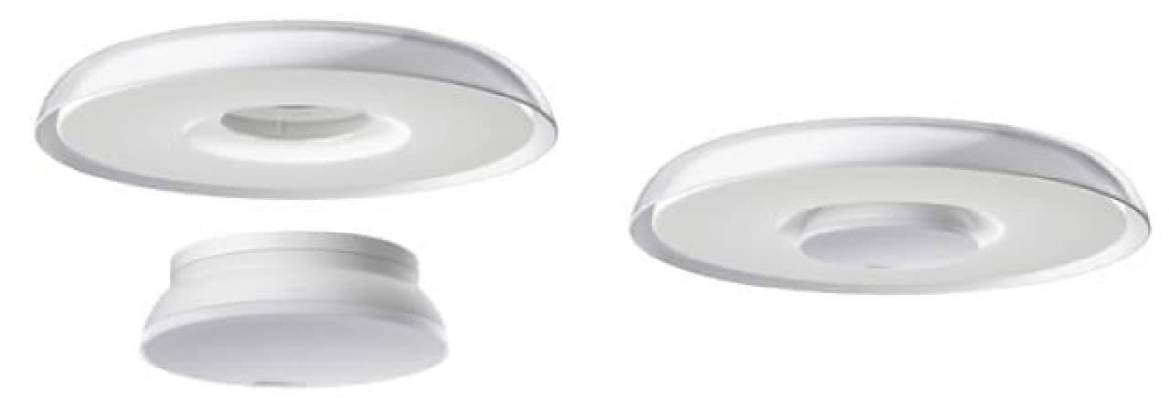 照明に専用の装置を組み合わせ(左)、カポッとはめこむ(右)