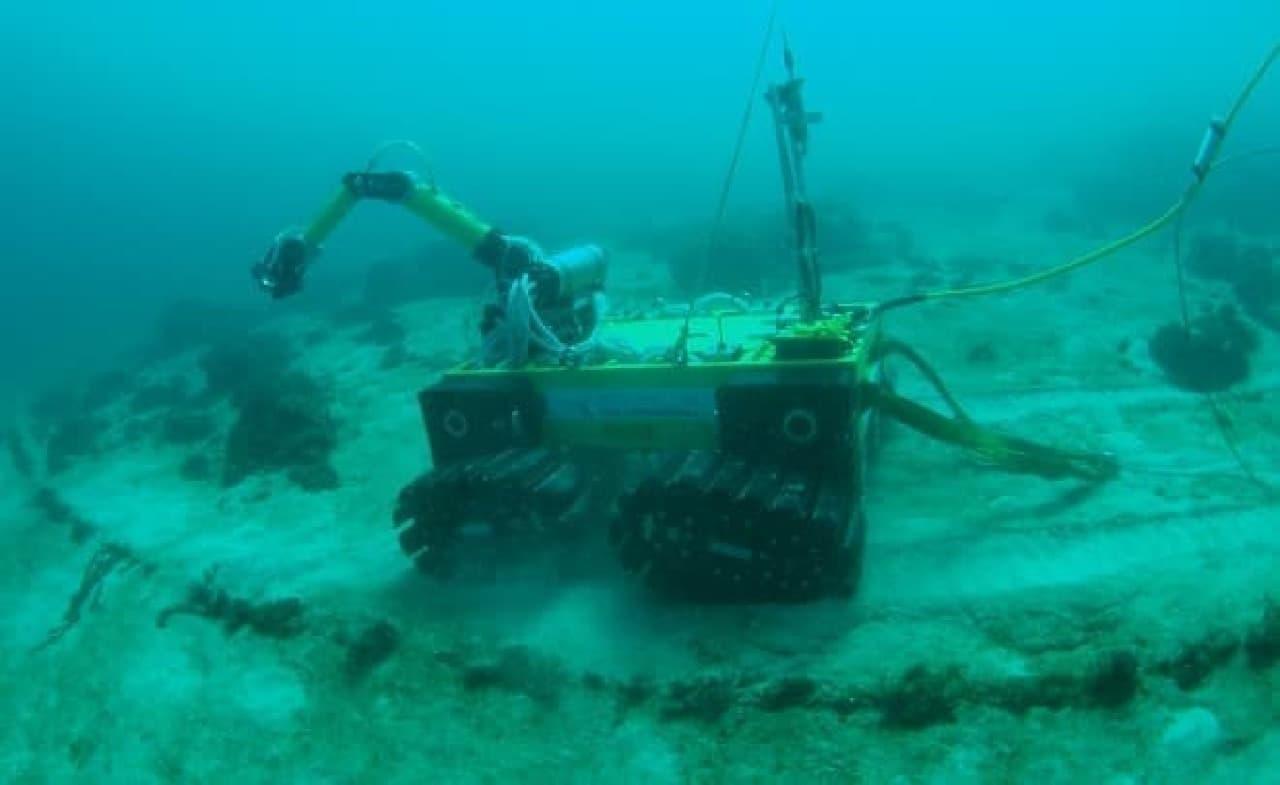 水深10~20mで作業している姿。余裕を感じる?