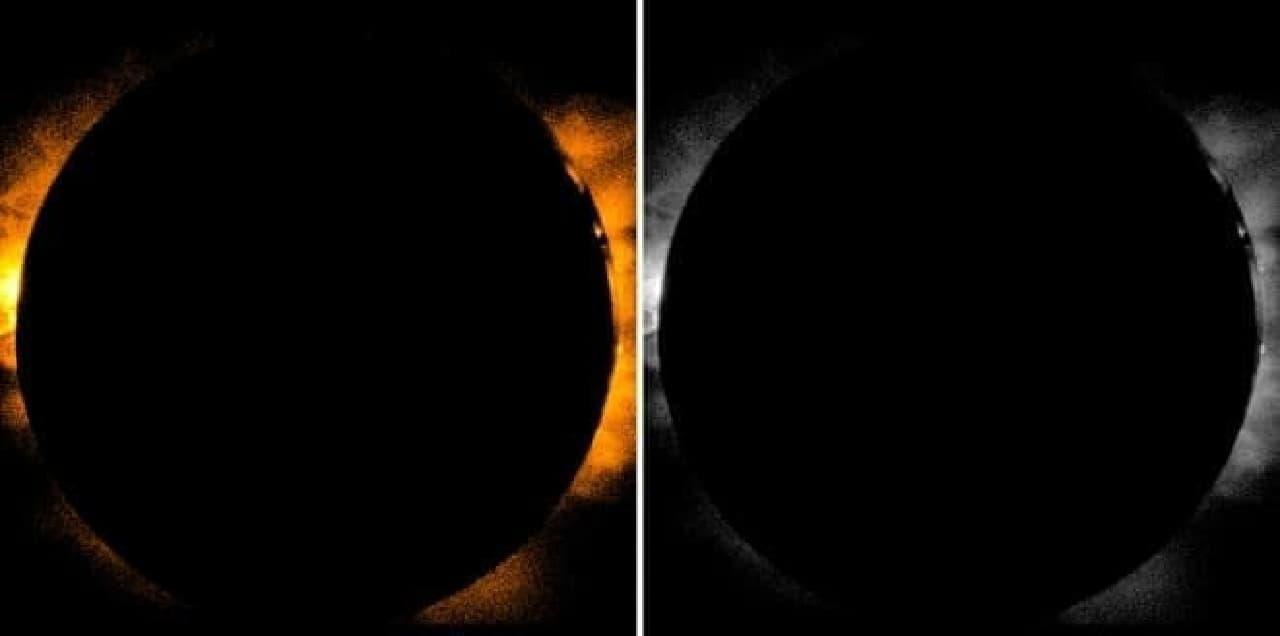 ほとんど皆既日食?左がオレンジ着色、右がモノクロ(出典:JAXA)