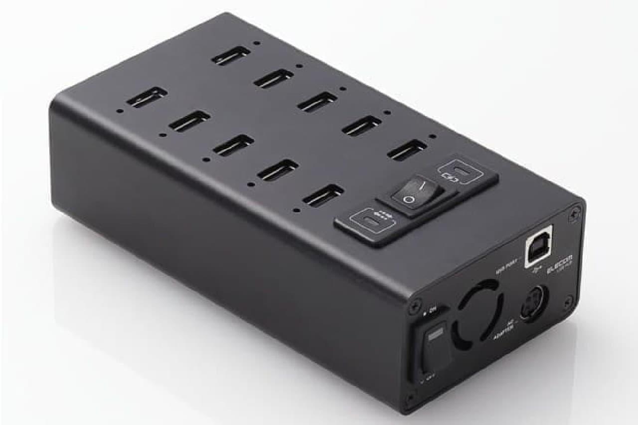 USBハブ「U2HS-T10SBK」。10台のタブレットを充電可能