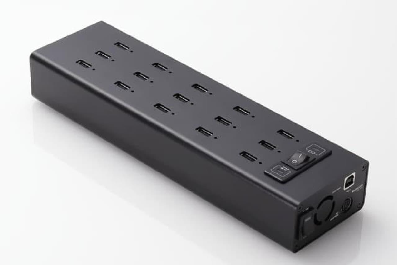 USBハブ「U2HS-T15SBK」。15のポートがあり、すべて2.4A対応