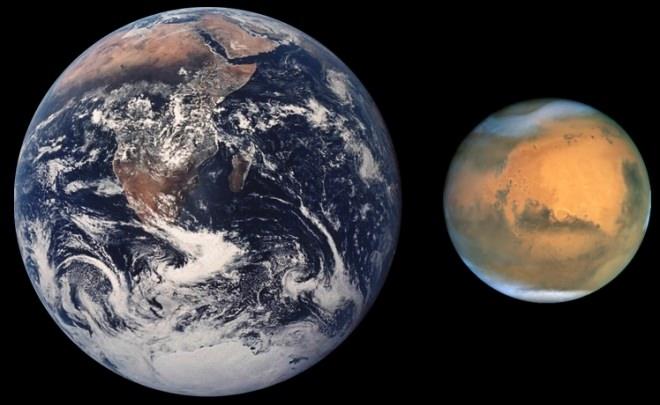 NASAによる地球と火星のサイズ比較画像