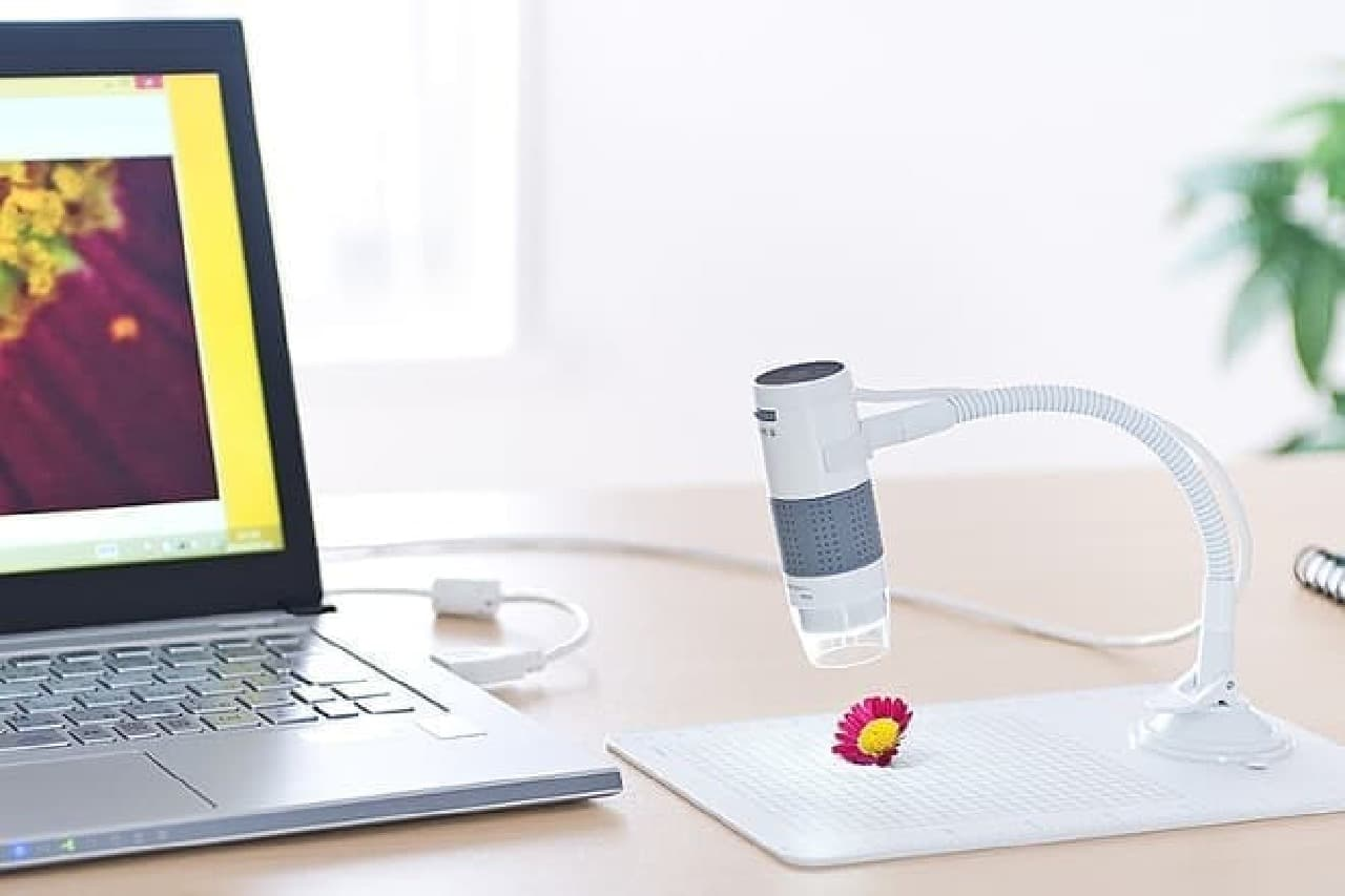 サンワサプライのUSBデジタル顕微鏡とノートPC