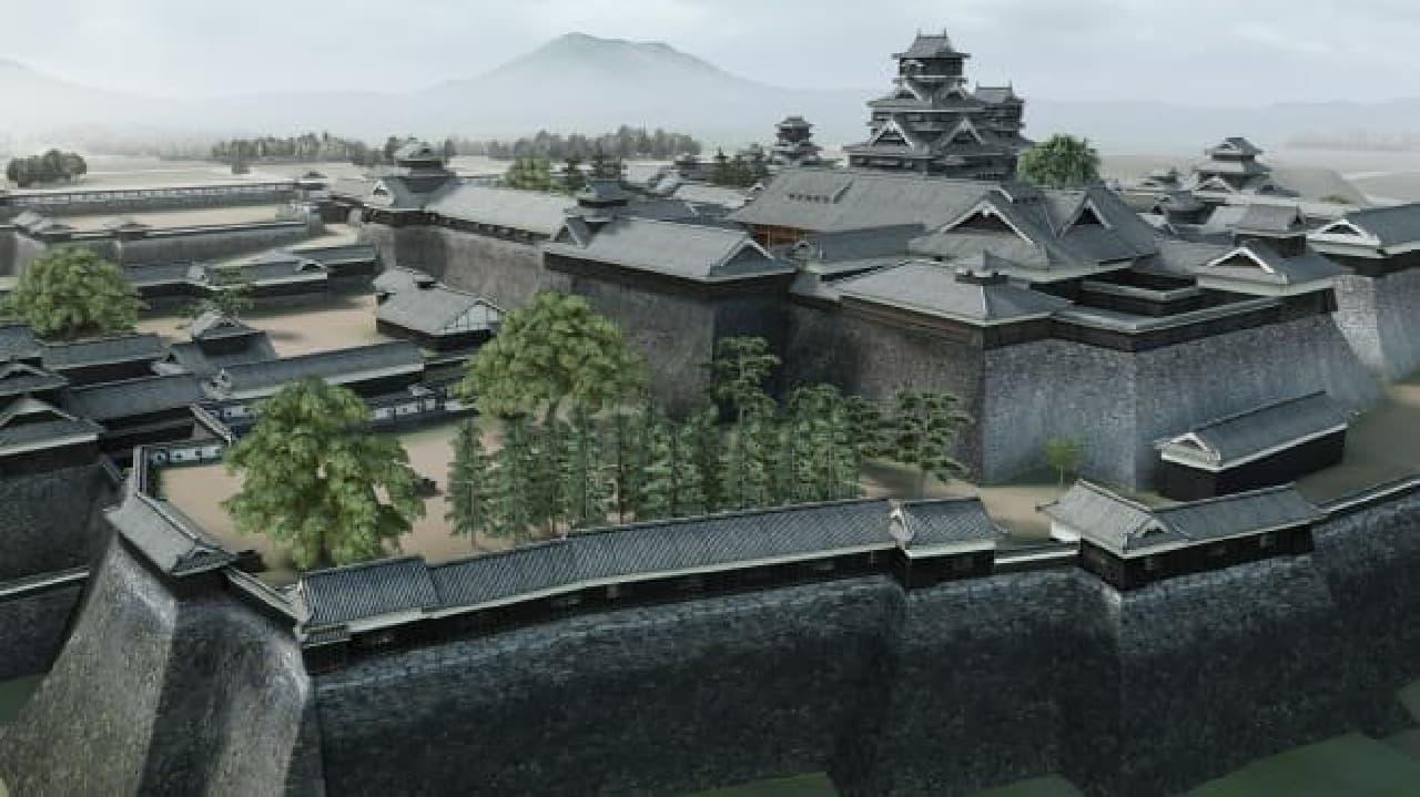3D映像で再現した熊本城の遠景