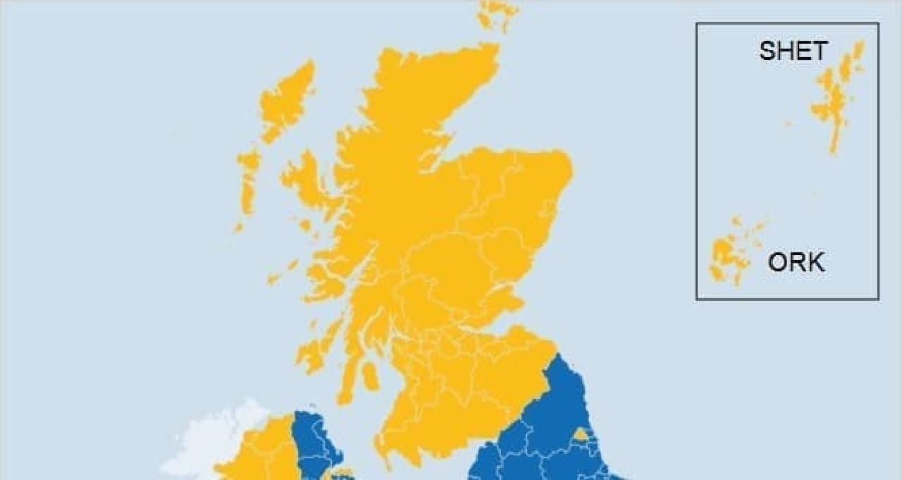 スコットランドの残留派勢力図