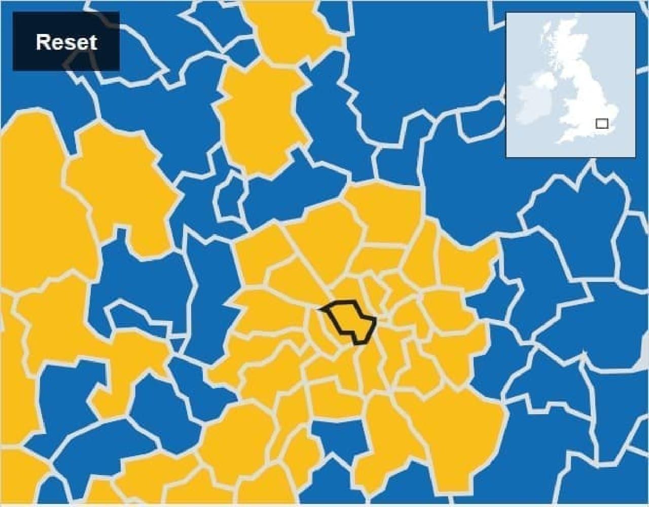 ロンドンの残留派勢力図