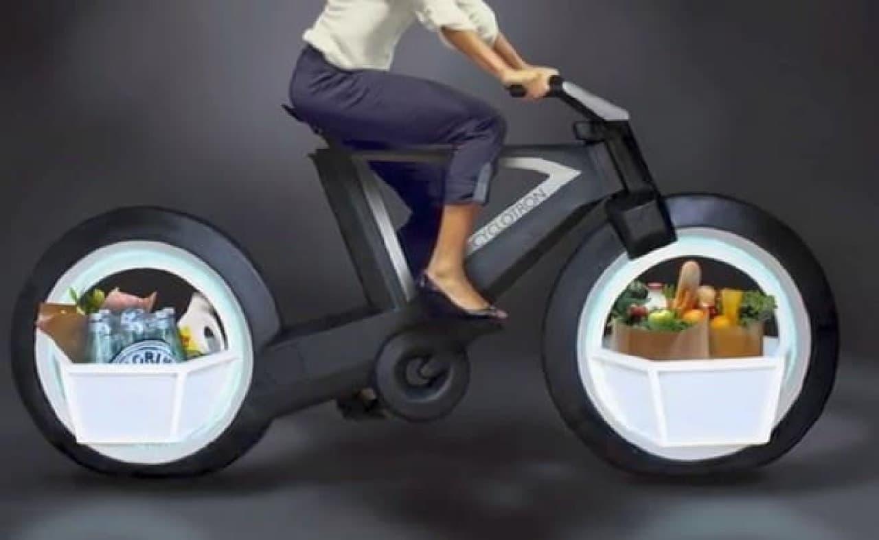 ホイールの中に荷物を積める自転車「CYCLOTRON BIKE」