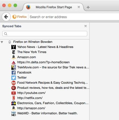 Firefoxのタブ共有サイドバー