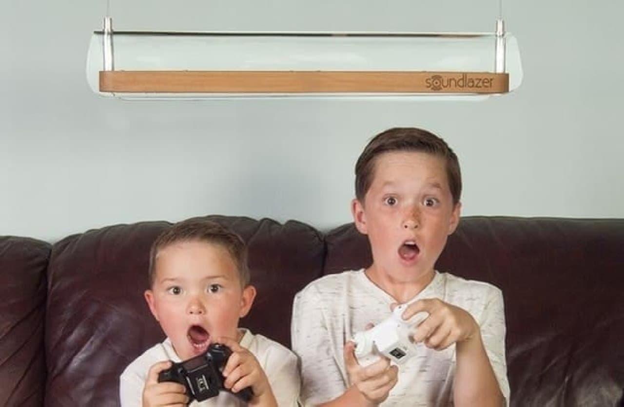 「Soundlazer VR」使用例:子どもたちのリビングのゲーム