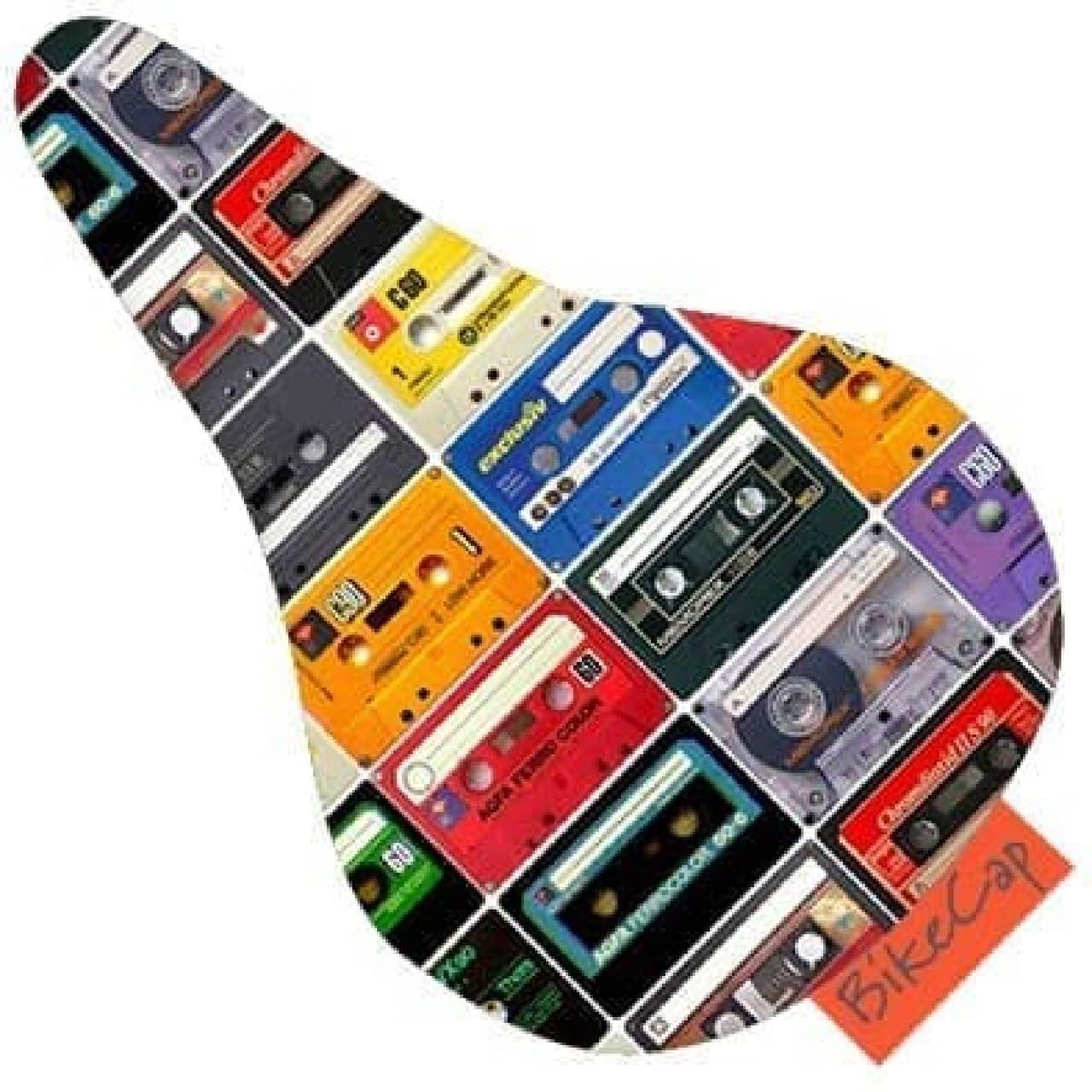 男心をくすぐるカセットテープデザインの自転車用サドルカバーBikeCap社の「オフザレコード」