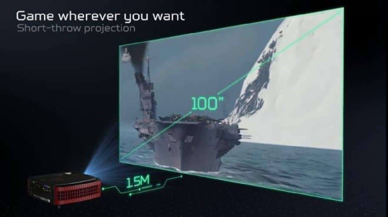 1.5mの距離から100型の画面を表示するようす