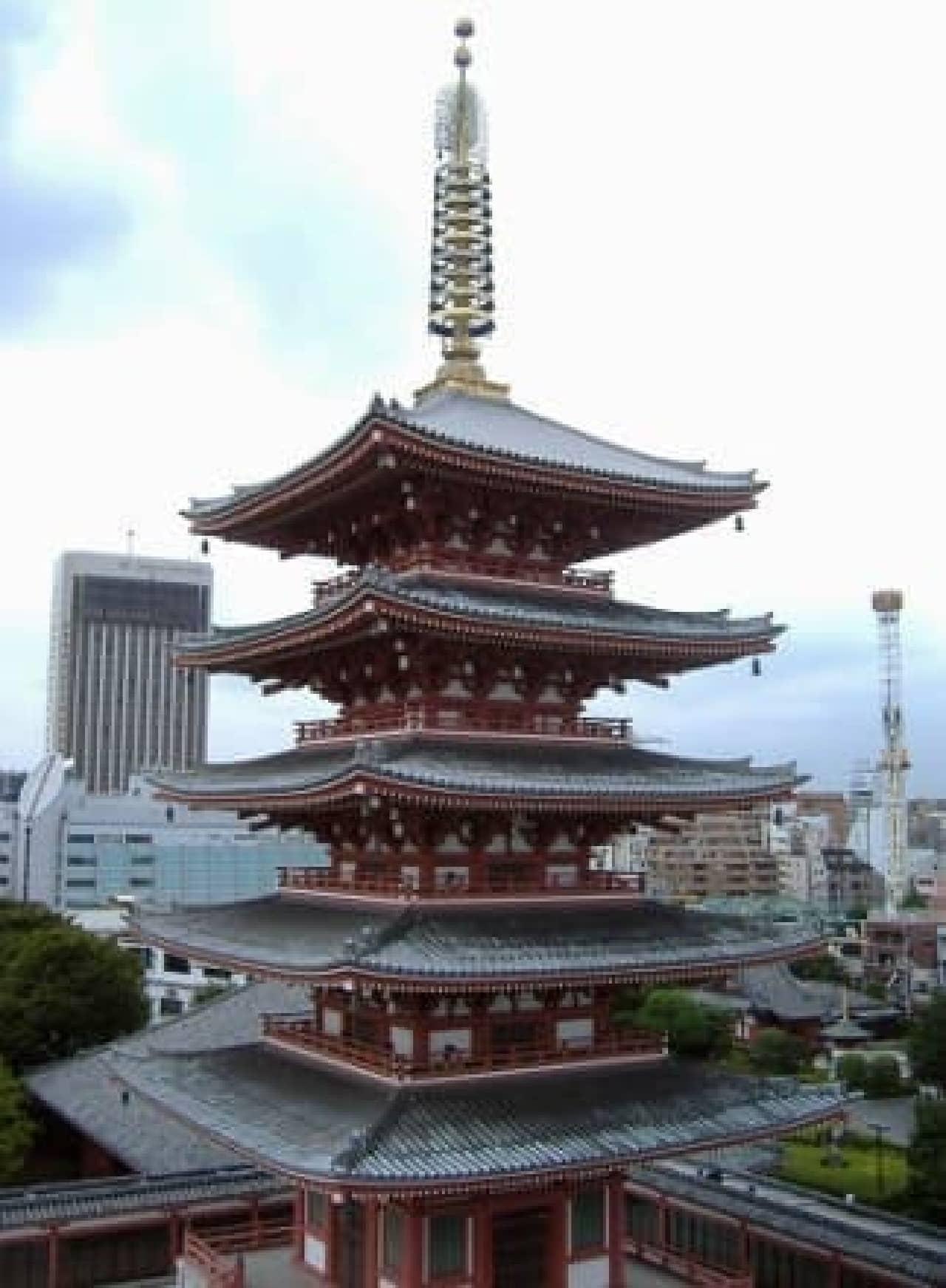 浅草寺、既存の五重塔