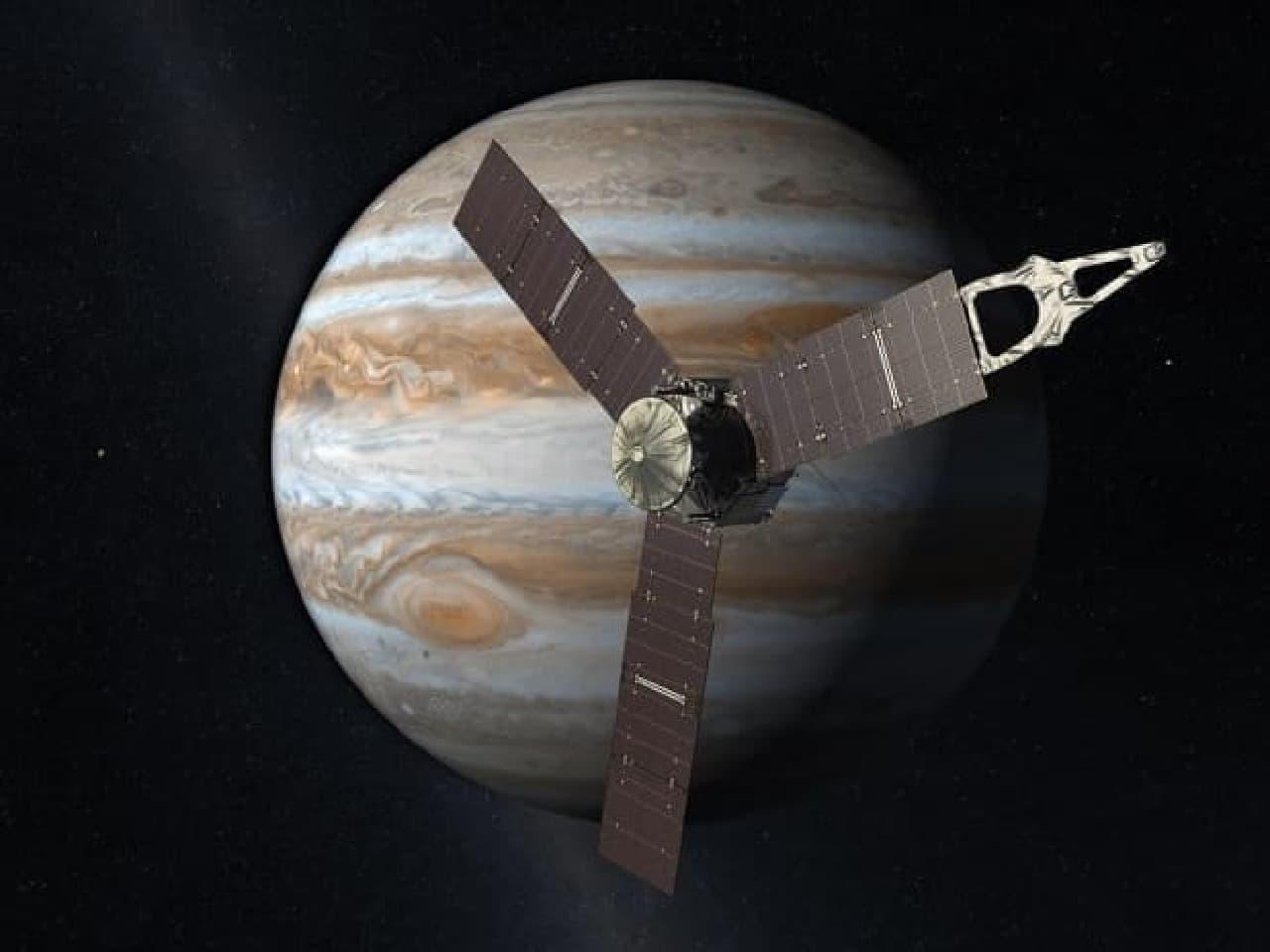 木星に到達するジュノーの想像図