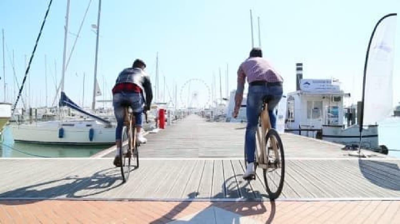 木製フレームは、街にも海にも合う