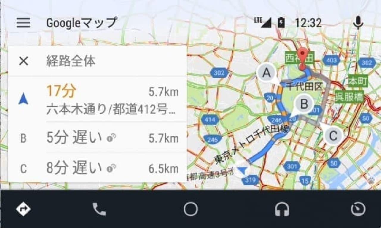 Android Autoのスクリーンショット