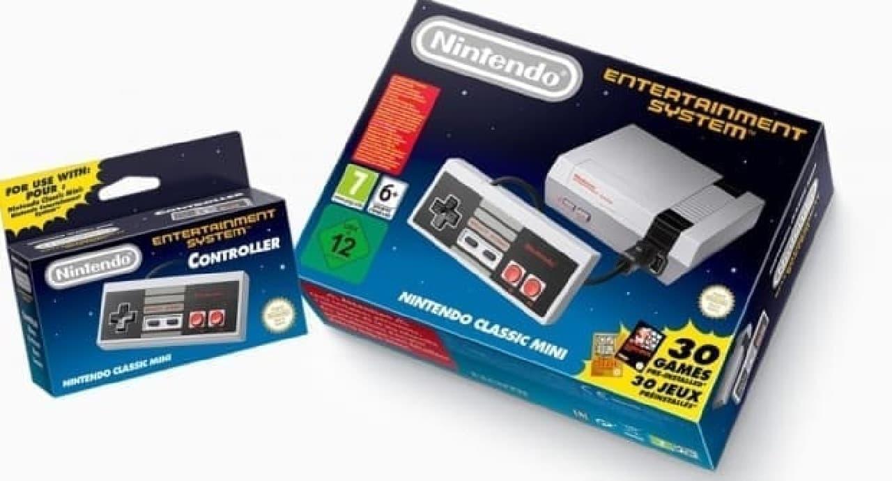 「Nintendo Classic Mini」パッケージ(画像右)と、コントローラー単体(画像左)