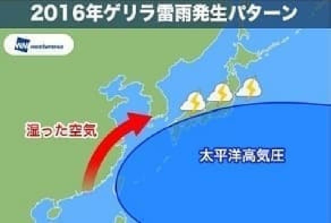 2016年ゲリラ雷雨発生パターン