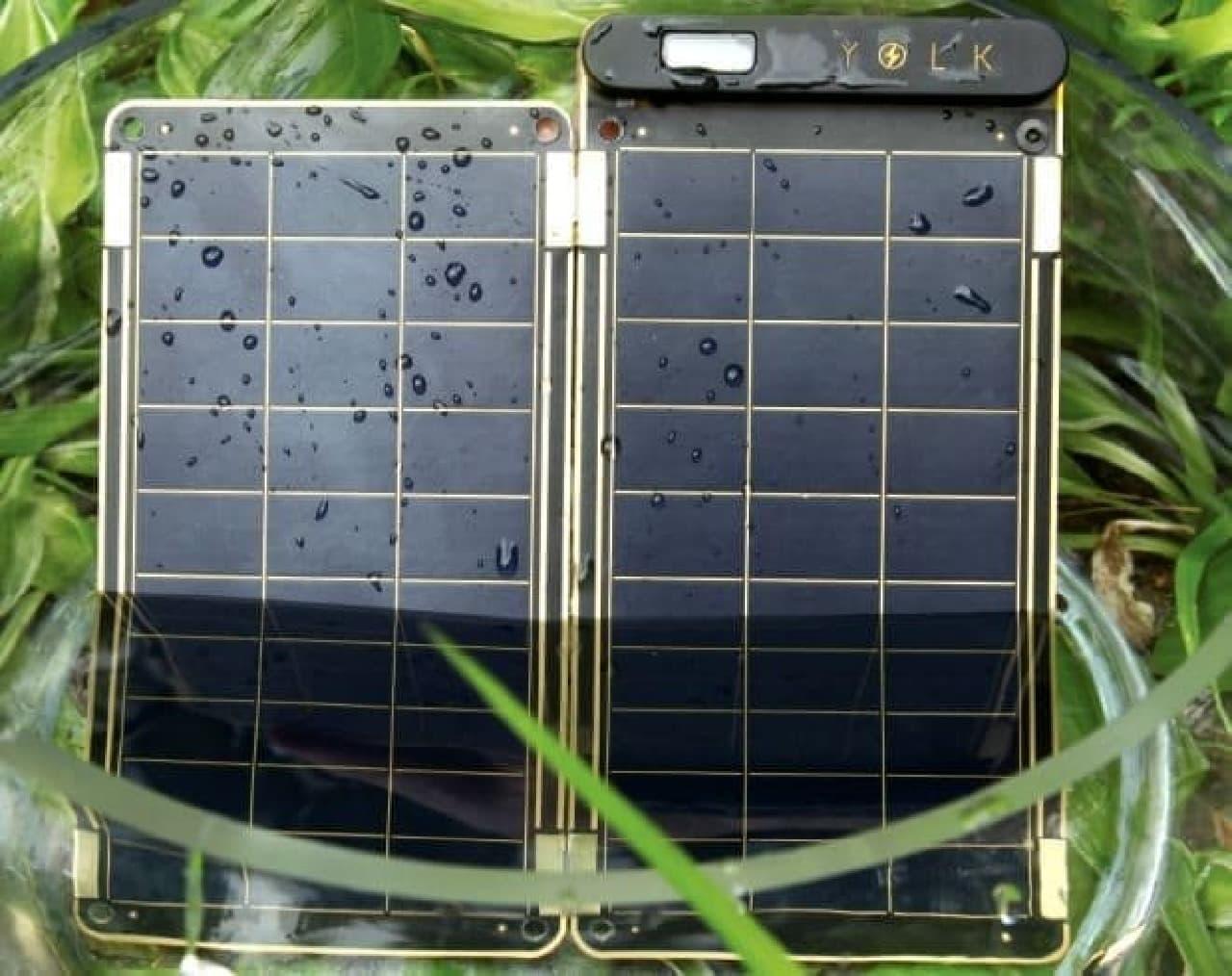 ソーラー充電器の防水性能の例