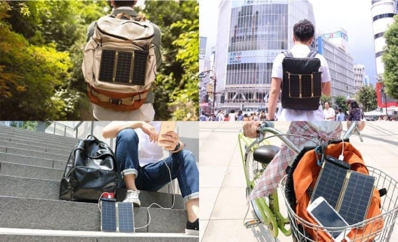 ソーラー充電器の使い方例