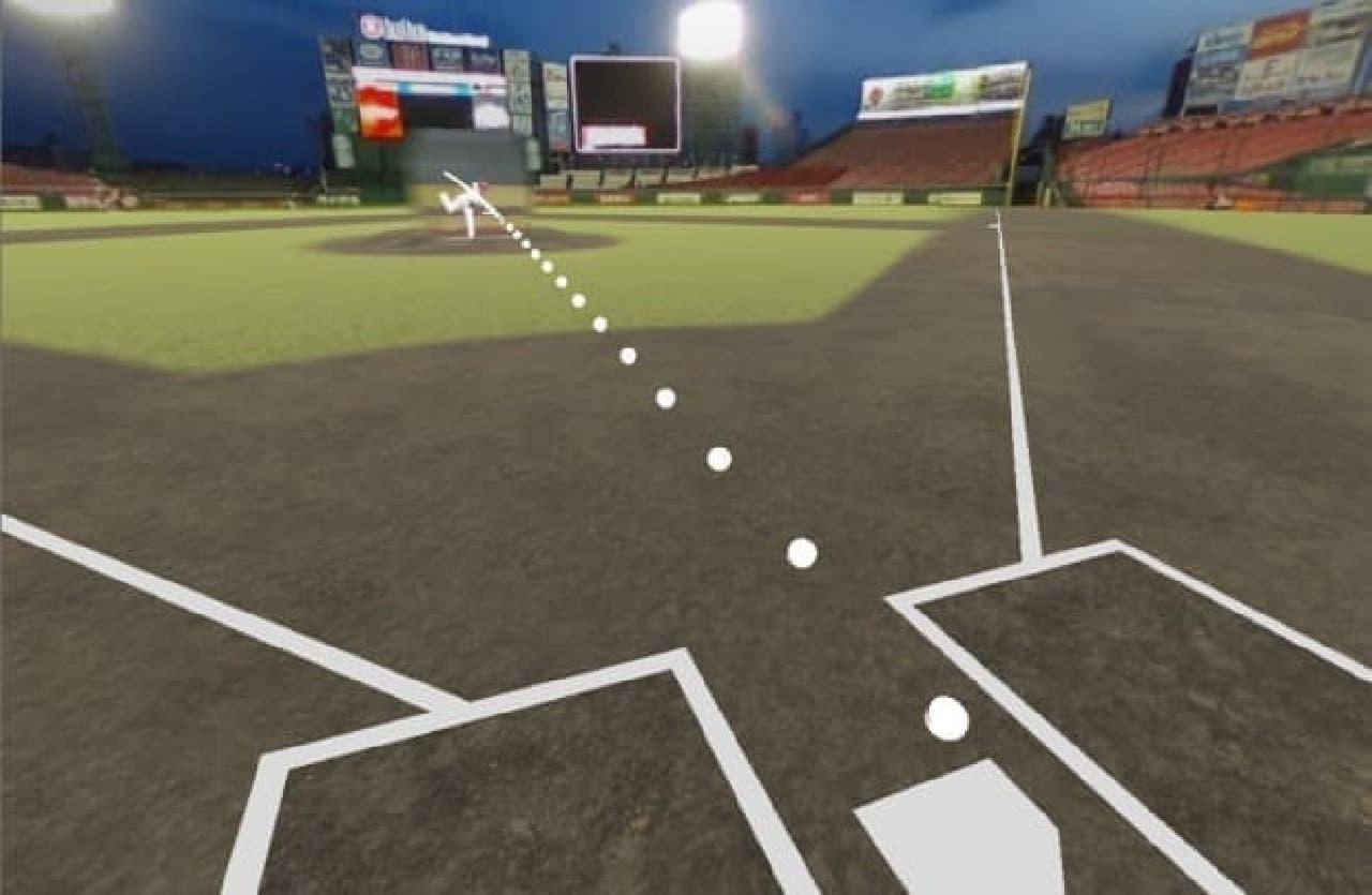 VRでの球場再現映像