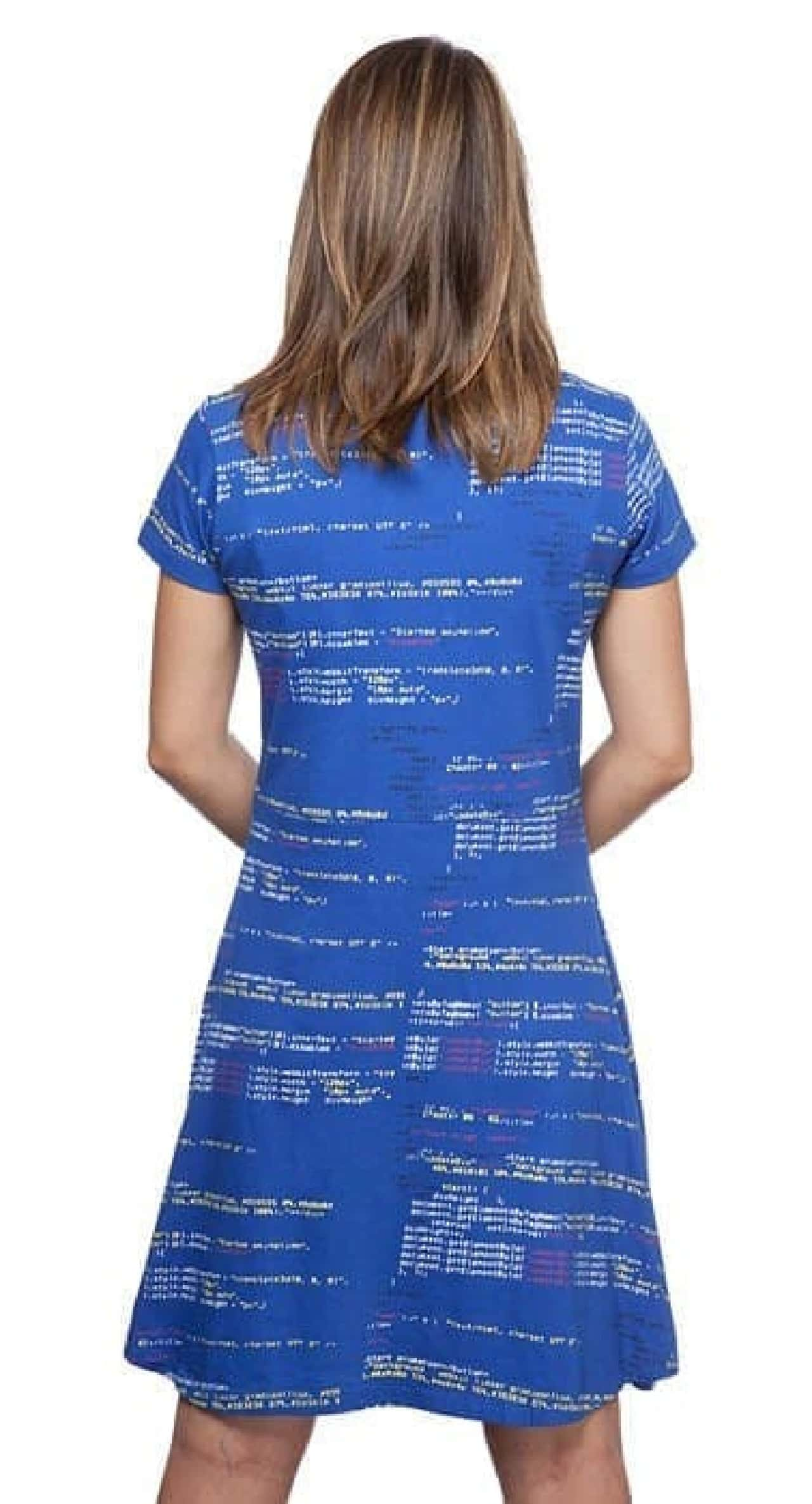 JavaScriptコードが書かれたドレス「JavaScript Code Fit & Flare Dress」