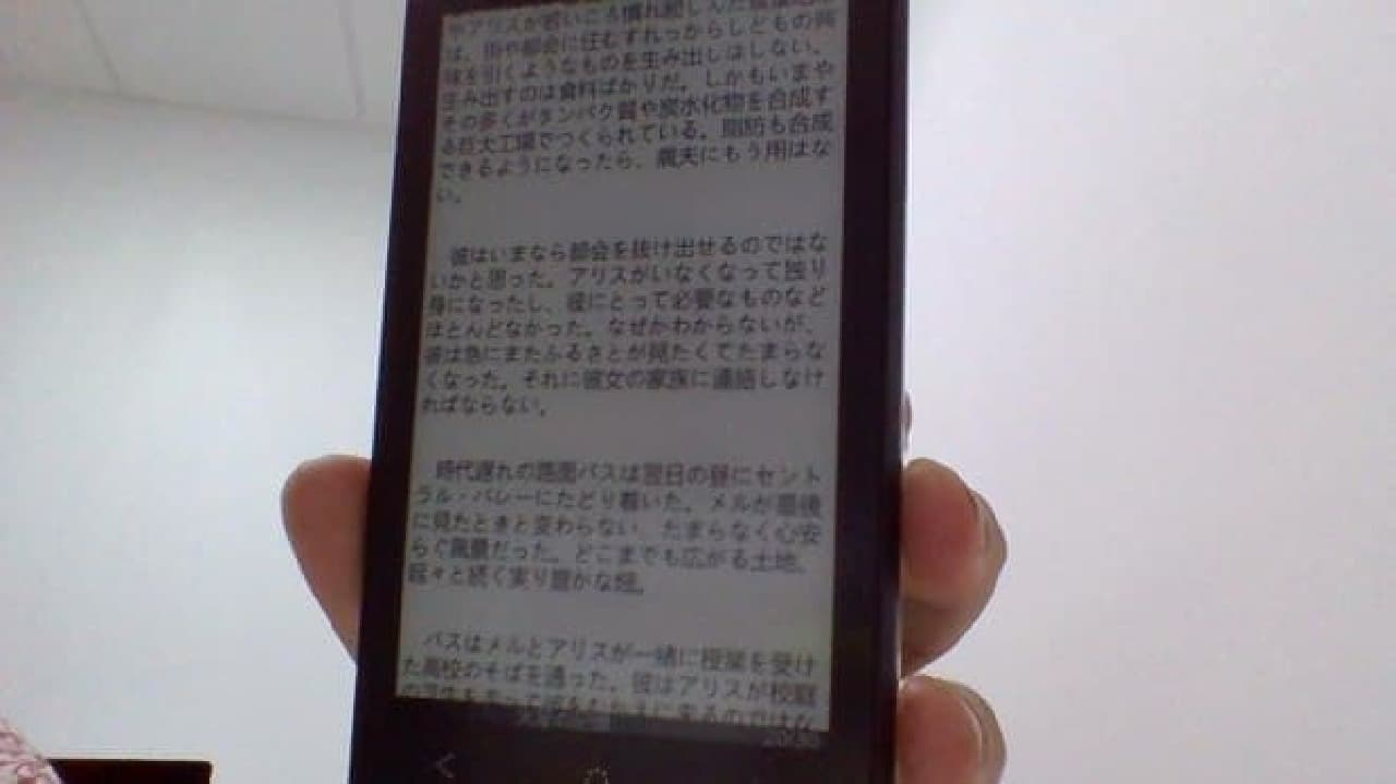 「Oaxis InkCase i7」で日本語書籍を表示した例