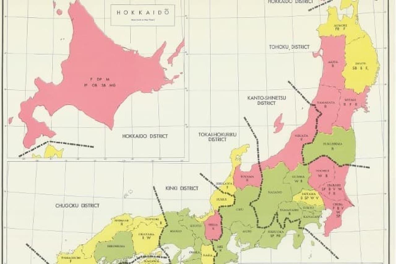 CIAが作成した日本の地図