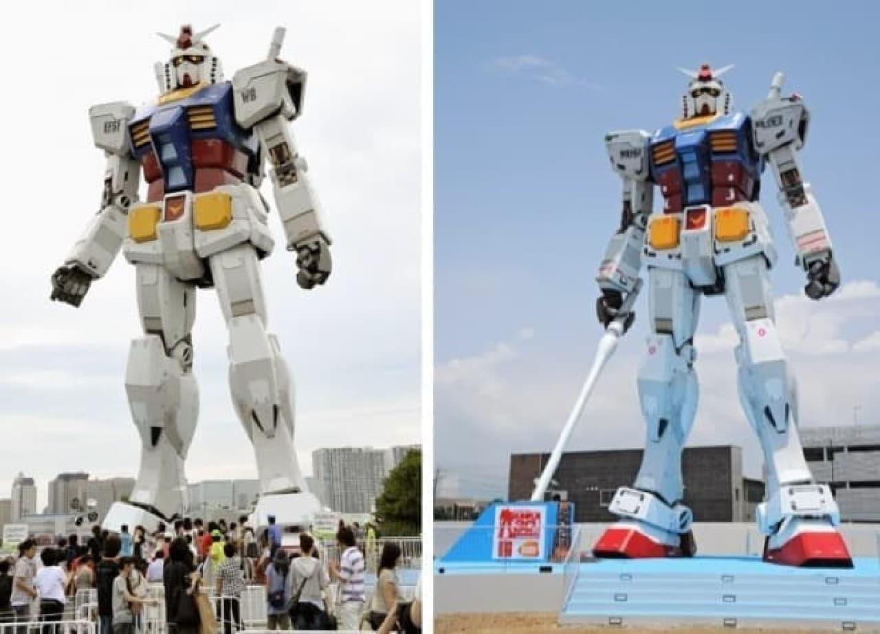 ガンダム立像2例の比較写真