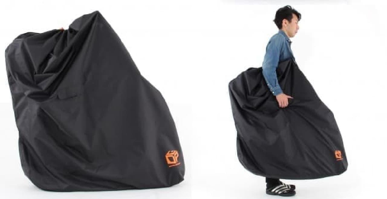 自転車のボトルケージに収めて運べる輪行用バッグ