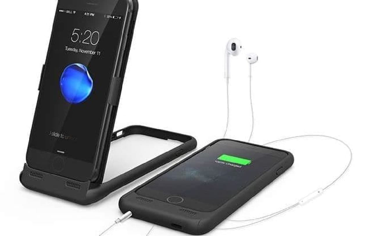 イヤホンジャック、バッテリーバンクの機能を追加するiPhoneケース「iStand 7」