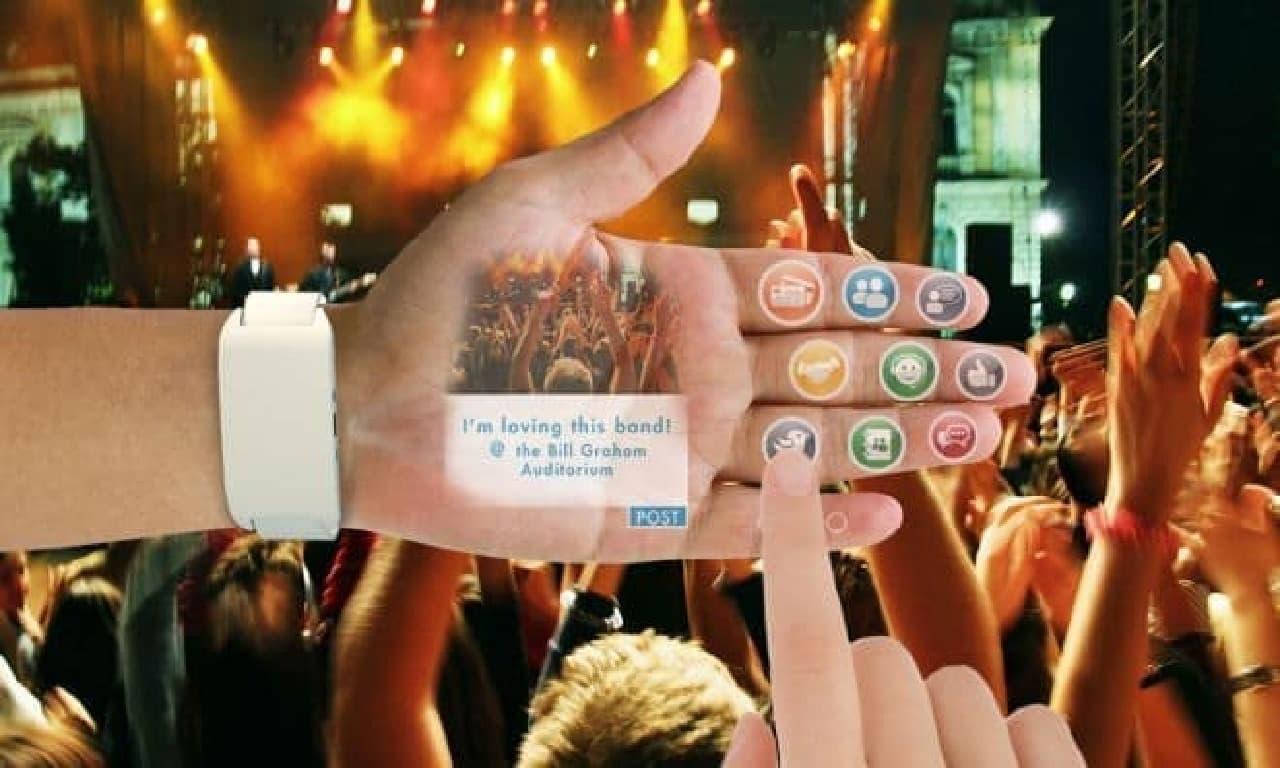リストバンド型のスマートフォン「eyeHand」