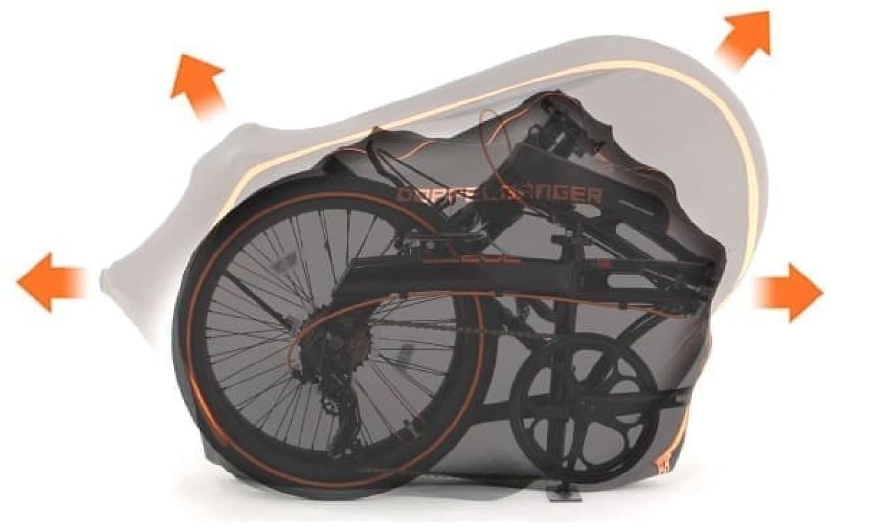 折り畳み自転車用輪行バッグ「伸びる輪行キャリングバッグ(小径車用)」