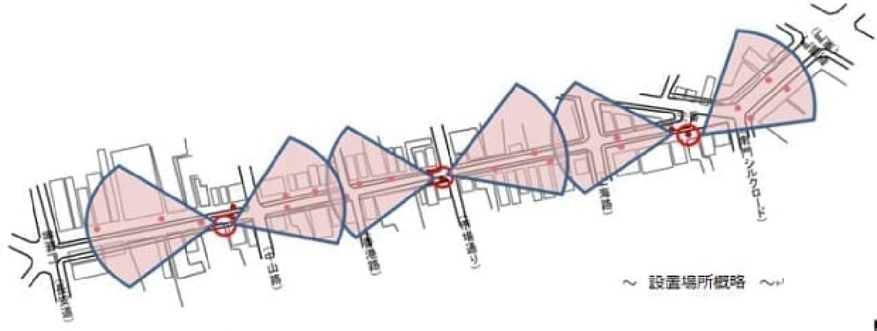 中華街大通りのWi-Fiマップ