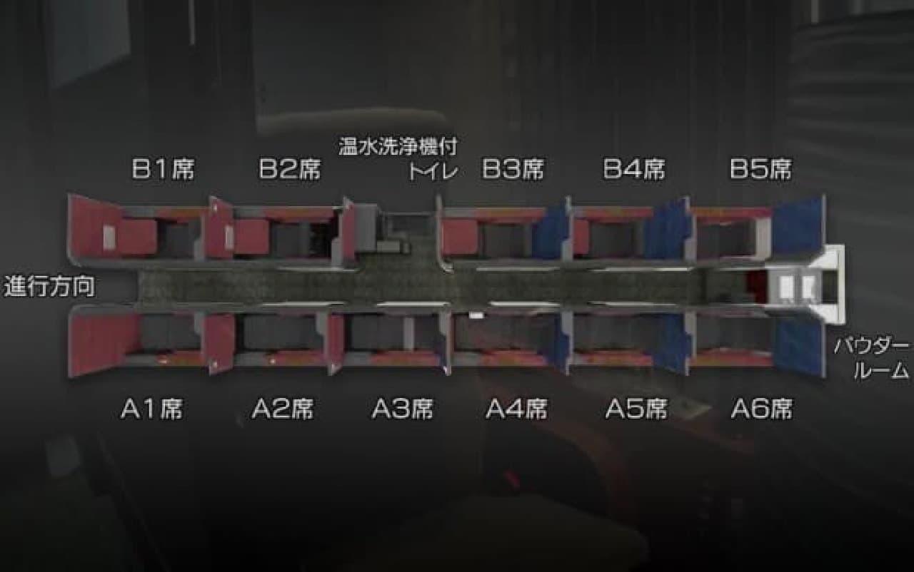 ドリームスリーパー、総座席数の図解
