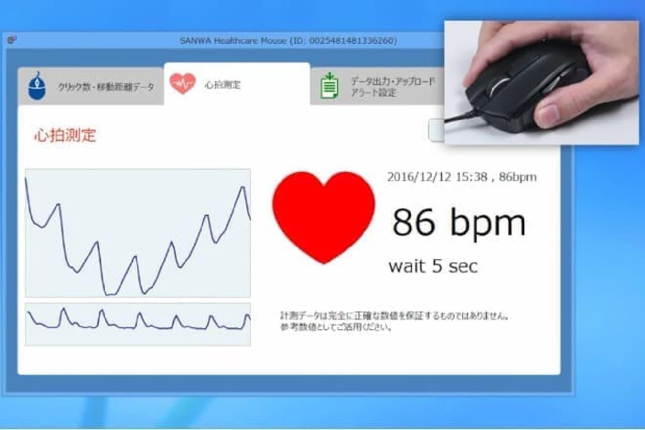 心拍数の表示画面