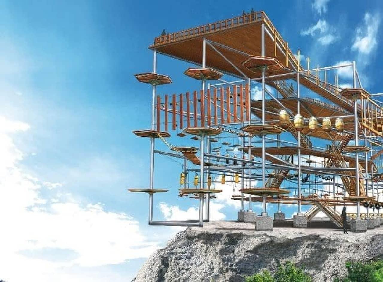 崖際に建てられた新アトラクション「マッスルモンスター」